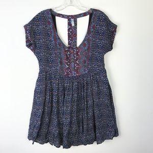 Free People Mini Dress w Pockets Open Back #1700
